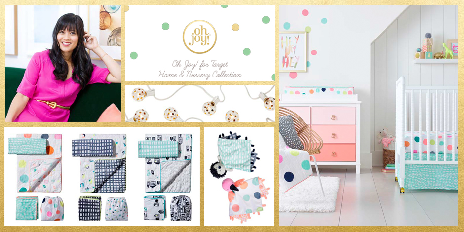 Collage of blogger Joy Cho and her new nursery collection
