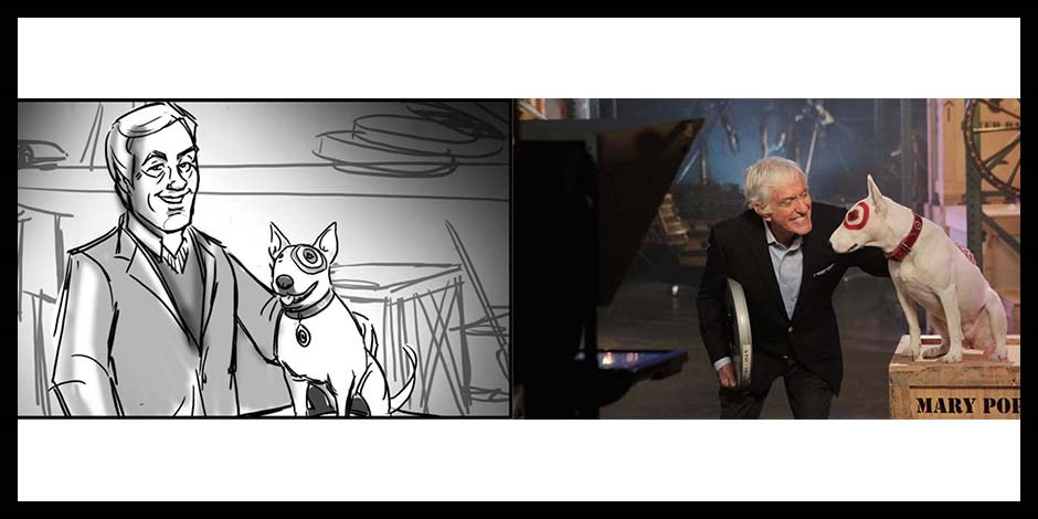 Storyboard drawing of Dick Van Dyke with Bullseye dog next to real life photo of same scene
