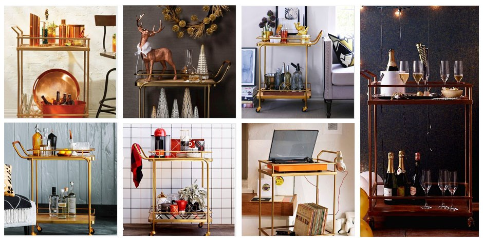 Seven different design treatments to gold bar cart