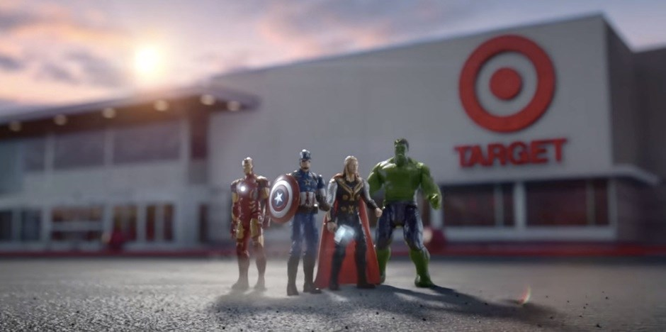 The Avengers stand guard in the parking lot in front of a Target store