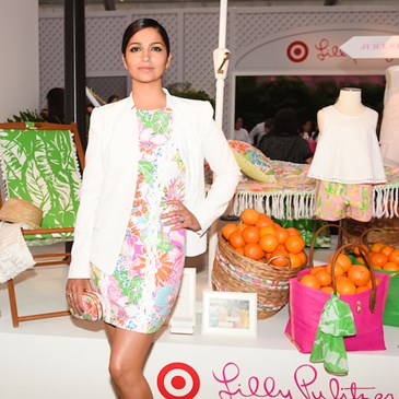 Camila Alves poses in a Lilly Pulitzer for Target shift dress
