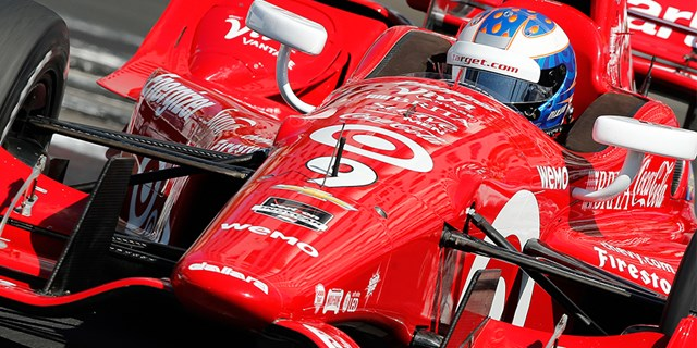 Closeup of Scott Dixon driving the Target Racing Car