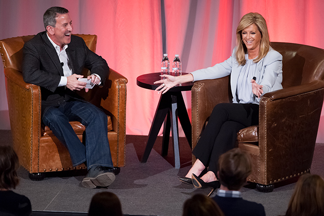 Brian Cornell (left) and Joy Mangano on stage for an Outer Spaces event.