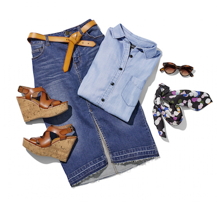 Laydown group with denim skirt tan belt denim shirt multicolor scarf sunglasses and tan and cork wedge heels