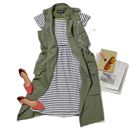 Laydown group with green trench vest black and white striped dress red flats sunglasses and newspaper