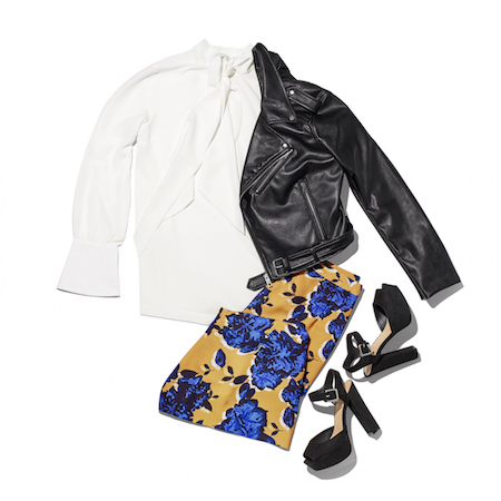 Laydown group with white button down black leather jacket blue and yellow floral skirt black heels
