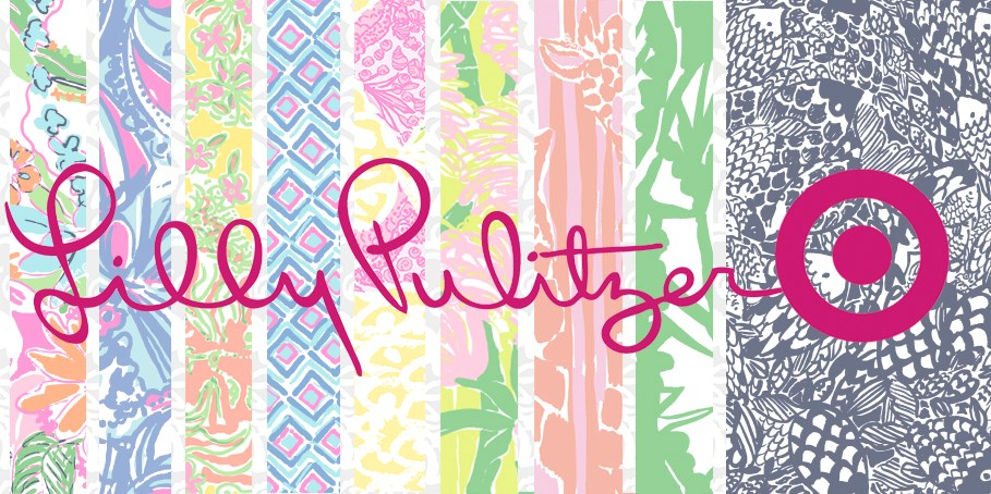 Lilly Pulitzer for Target logo with a printed background