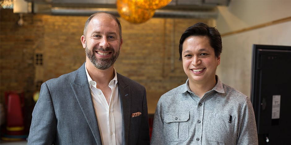 Pinterest's Ben Silbermann (right) and Target's Casey Carl take part in the event