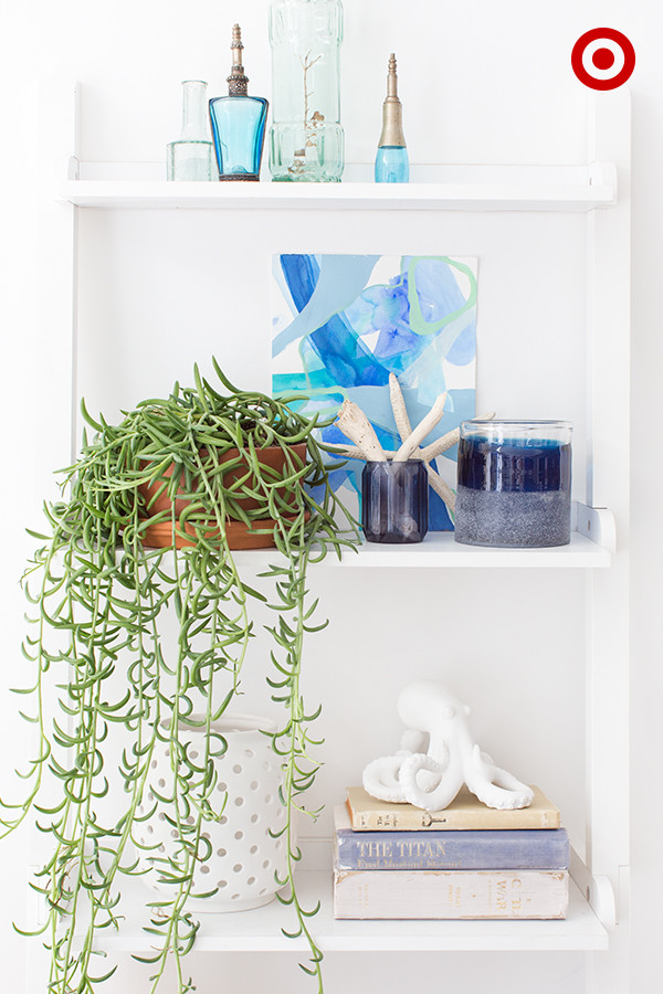 Closeup of White Bookshelf with Ocean Blue Accents