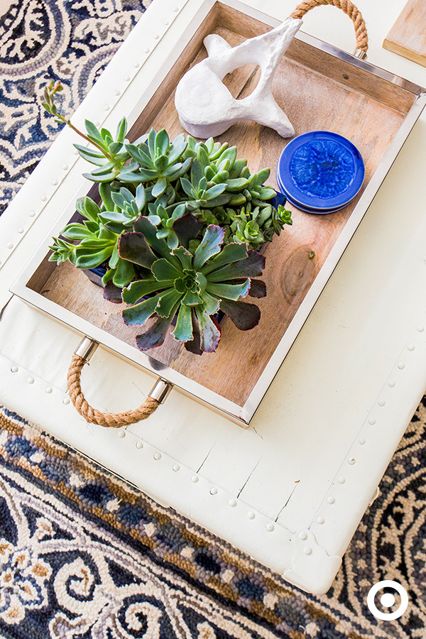 Closeup of Wooden and Rope tray with succulents and blue and white accents