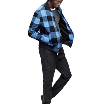 Adam Lippes for Target plaid bomber and beanie on model