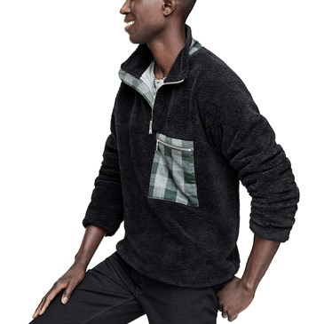 Adam Lippes for Target sherpa half-zip jacket on model