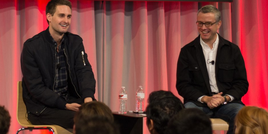 Evan Spiegel (left) and Jeff Jones onstage at the Outer Spaces event