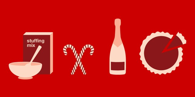 Food graphics of cookie mix, candy canes, a wine bottle and a pie against a red background.