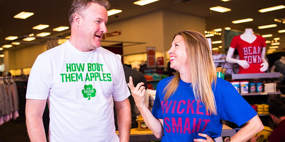 Todd Snyder and blogger Kristen Uekermann in Local Pride Boston Gear at Target