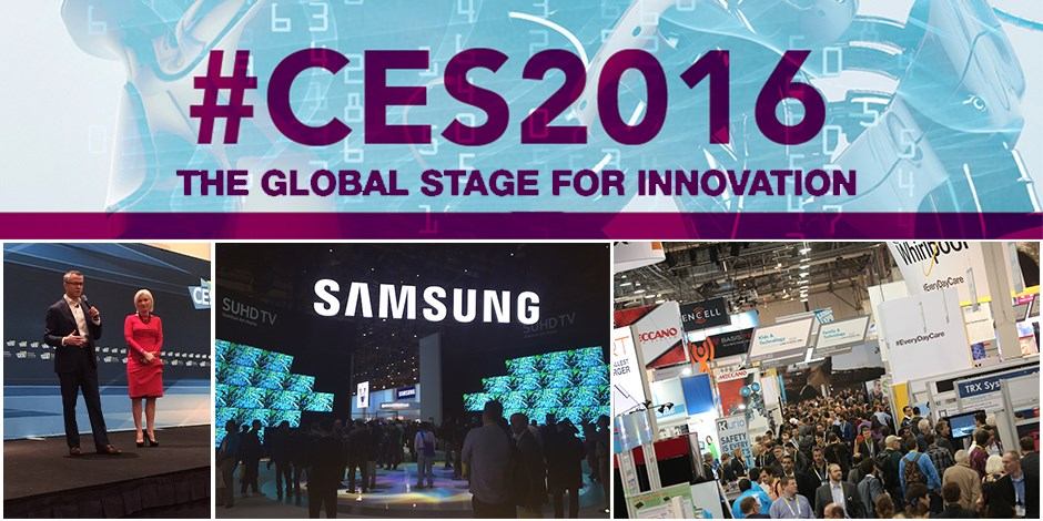 A collage of CES event images with logo on top