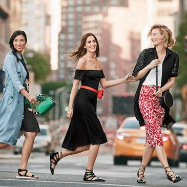 Group of models crossing the street wearing Who What Wear collection