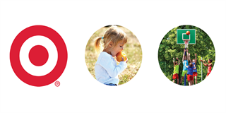 Target's Bullseye logo next to a photo of a child eating an apple and kids playing basketball
