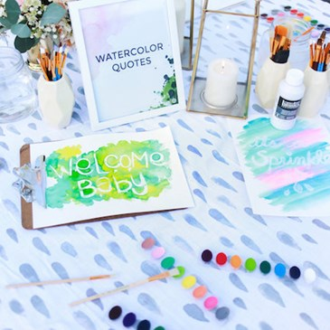 Water Color Quote Station at Emily Henderson's Baby Sprinkle