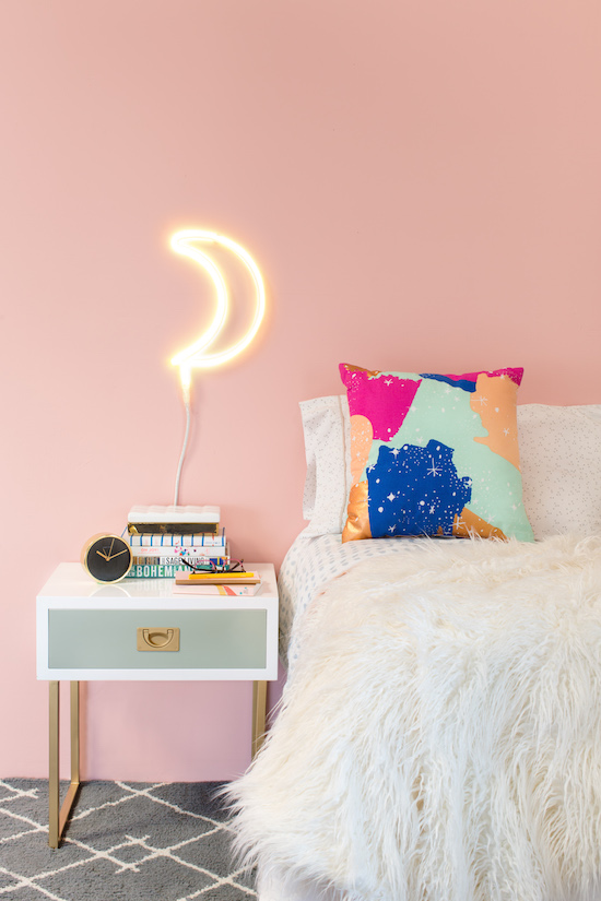 LED moon light and starry sky pillow