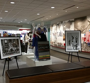 A view of the front of the AABC History Center exhibit