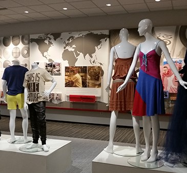 Six mannequins dressed in multicolored apparel from Target's collections