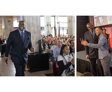 Left: Johnson walks to the stage as the audience applauds; Right: Johnson and a fan take a selfie during the Q&A session.