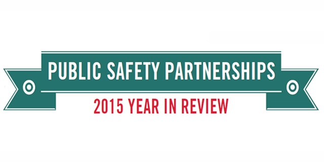 "A teal banner with text: ""Public Safety Partnerships"" and ""2015 Year in Review"""