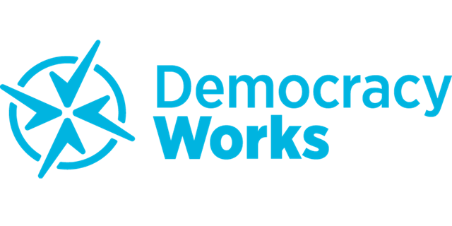 A blue Democracy Works logo against white background.