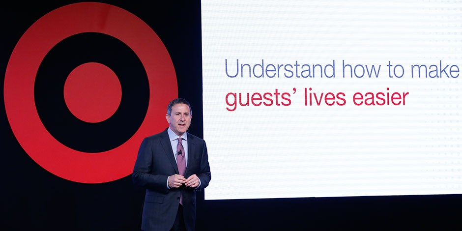 CEO Brian Cornell onstage during Target's 2016 Financial Community Meeting in New York City