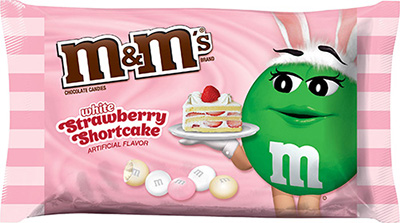 A pink, white and green bag of Stawberry Shortcake M&M's.