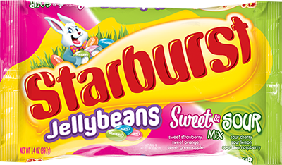 A pink, yellow and green bag of Starburst Sweet & Sour Jellybeans.