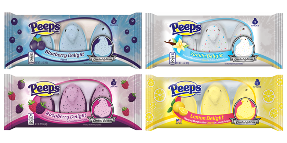 Four packages of blue, purple, yellow and white Peeps in 3-packs.