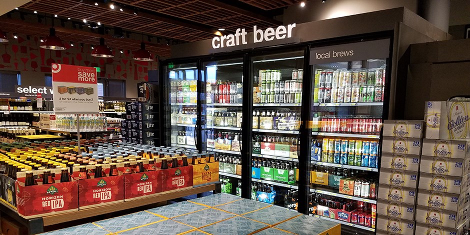 A case of craft beers in a Target liquor store