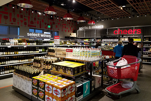 Interior shot of Target's Knollwood, MN, liquor store