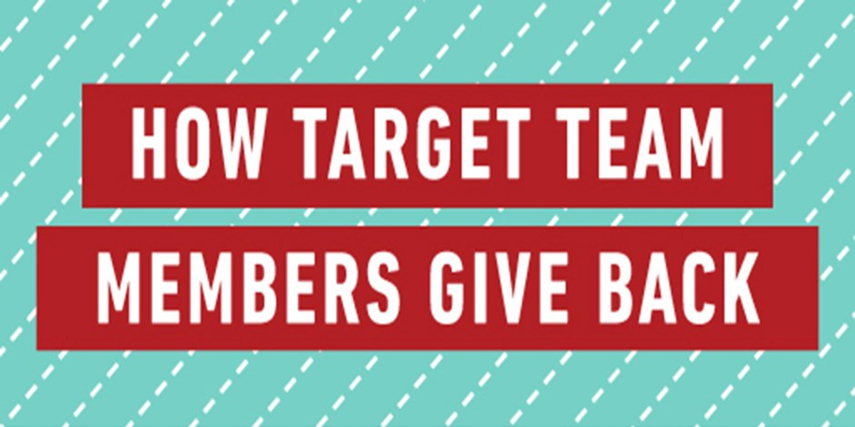 White text on a red and teal background that reads: How Target Team Members Give Back
