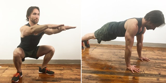 Fitness Trainer Adam Rosante showing an air squat and a push up