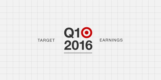 Red Bullseye logo on white gridline background with text: Target Q1 2016 Earnings
