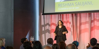 Reshma Saujani onstage at Target's Outer Spaces event.