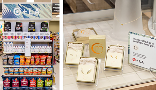 Left: Zlicious snacks on an endcap; Right: Michelle Chang jewelry in a display case.