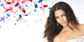 Camila alves and red, white and blue confetti
