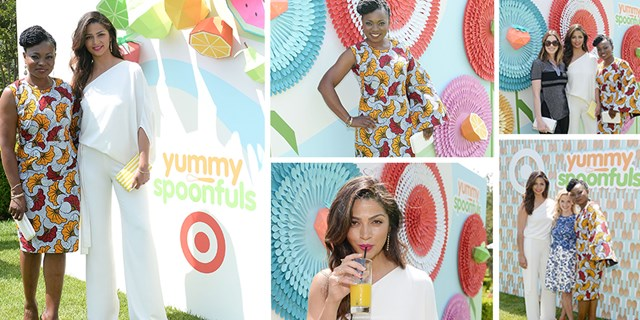 Yummy Spoonfuls partners Camila Alves and Agatha Achindu pose at event with Reese Witherspoon