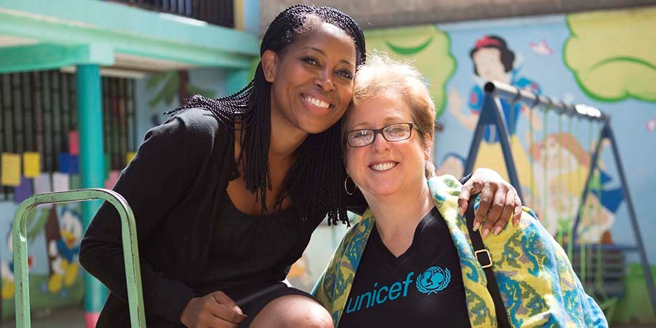 Laysha Ward (left) and Caryl Stern at a UNICEF Kid Power event.
