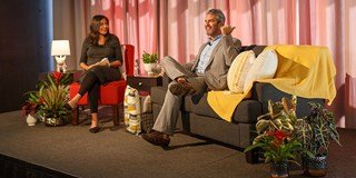 Vidula Bal (L) and Andy Cohen onstage at the Outer Spaces event.