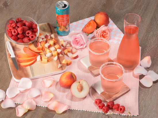 Ginger Peach Simply Balanced sparkling water is pictured with the drink ingredients