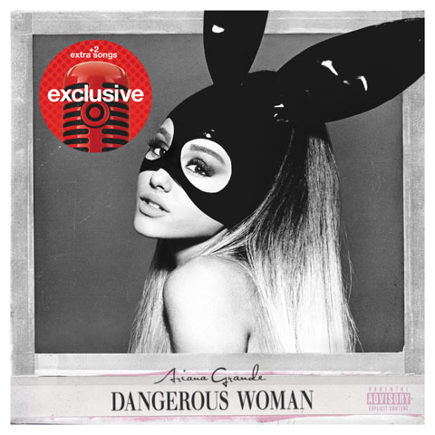 Ariana Grande wears a mask on the cover of her album.