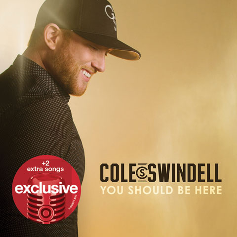 Cole Swindell is pictured in a black shirt and ball cap on his album cover.