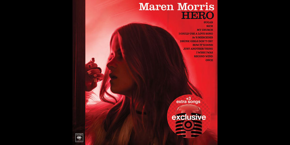 Maren Morris is pictured in red light on her album cover.