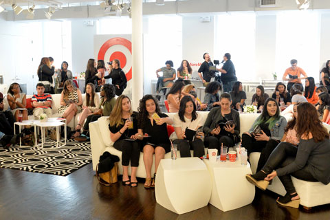 Nick's fans sit on couches at Target's studio