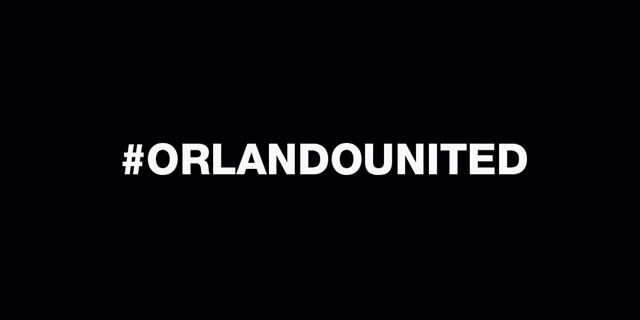 A hash-tag reading Orlando United is displayed in white on a black background